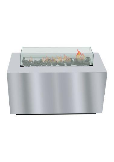 Feuertisch (Gas), mit Glasumrandung rechteckig