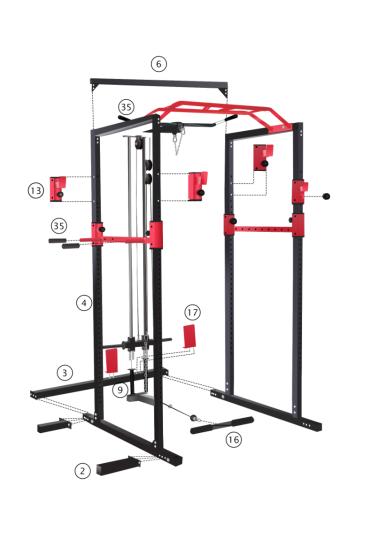 Power Rack Schwarz/Rot